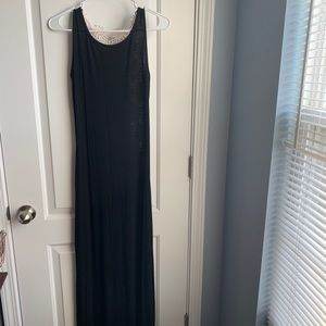 Black maxi dress with knitted back
